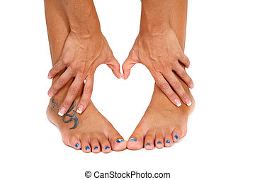 Feet and Hands Shape of a Heart on White