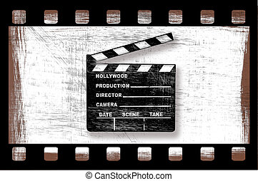 Grungy Dirty Movie Clapper Directors Board With Filmstrip on...