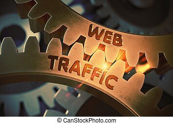 Web Traffic on Golden Cogwheels. 3D Illustration.