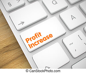 Profit Increase - Message on the White Keyboard Keypad. 3D....