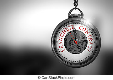 Franchise Contract on Vintage Pocket Clock. 3D Illustration....