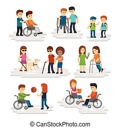 Disability person vector flat. Young disabled people and friends helping them