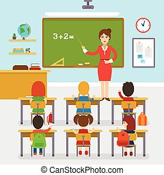 School classroom with teacher and pupils, education, elementary school, learning and people concept.