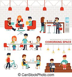Coworking space infographic elements vector flat design illustration.