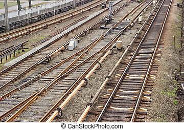 Railroad tracks on the the overground part of metro line -...