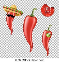 Hot Chilli Pepper Big Set With Gradient Mesh, Vector...