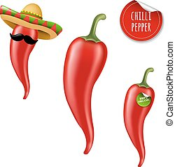 Hot Chilli Pepper Big Set With Gradient Mesh, Vector...