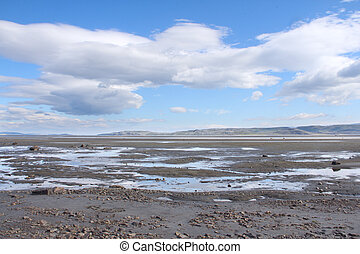 Arctic landscape - Summer arctic landscape with lake and...