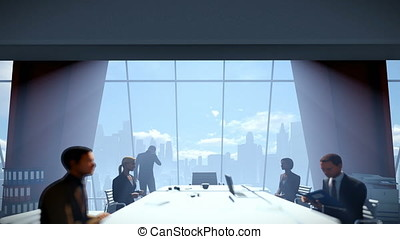Businessmen team in conference room, rear view cityscape