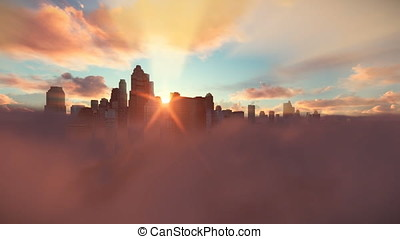 City skyline above clouds, timelapse sunrise