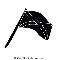Scotland flag on a wooden stick.The Scottish national flag.Scotland single icon in black style vector symbol stock illustration.