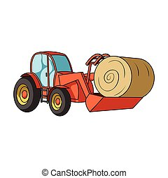 Orange tractor with a ladle transporting hay bale....