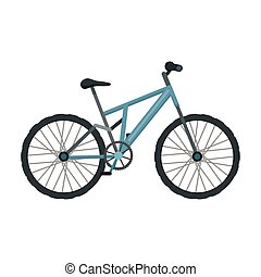 Mountain bike. Cycling downhill from the mountains.Different Bicycle single icon in cartoon style vector symbol stock illustration.