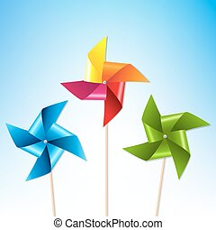 Colorful Pinwheels With Blue Sky With Gradient Mesh, Vector...