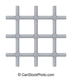Lattice in the cell of the prisoner. A metal door to hold criminals.Prison single icon in cartoon style vector symbol stock illustration.