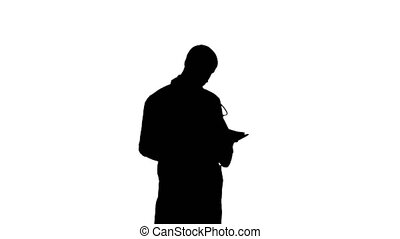 Silhouette Male medicine doctor checking his papers....
