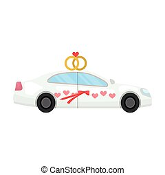 White wedding car with rings. Auto for the bride and groom.Wedding single icon in cartoon style vector symbol stock illustration.