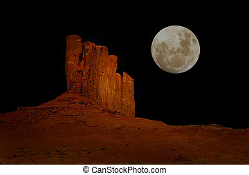 Nighttime in Monument Valley Arizona - Evening Moon in...