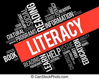Literacy word cloud collage