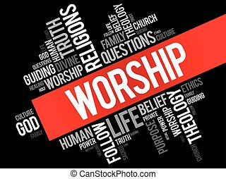 Worship word cloud collage, social concept background