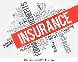 Insurance word cloud collage, healthcare concept background