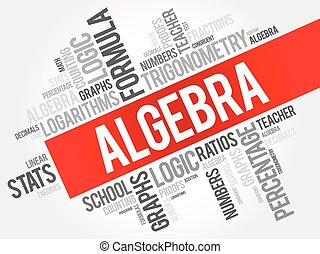 Algebra word cloud collage, education concept background