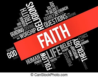 Faith word cloud collage, social concept background