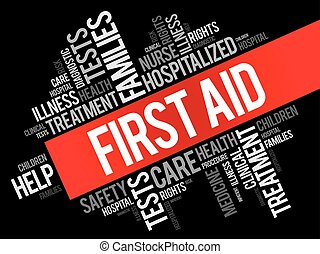 First aid word cloud collage, health concept background
