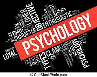 Psychology word cloud collage , social health concept...