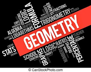 Geometry word cloud collage, education concept background