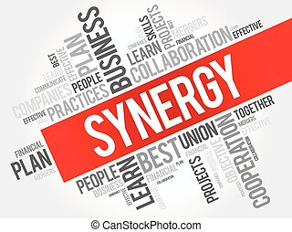 Synergy word cloud collage