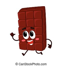 Cute chocolate bar character with funny face hurrying...