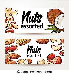 Banner design with coconut, cashew, peanut, hazelnut,...