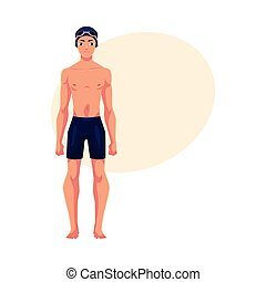 Handsome young man, swimmer in swimming suit, cap