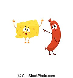 Embarrassed frankfurter sausage character pointing to funny cheese chunk