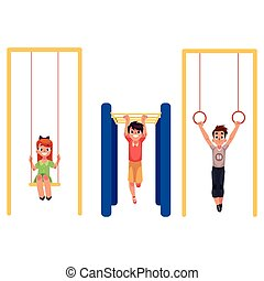 Kids at playground, hanging on monkey bars, gymnastic rings,...