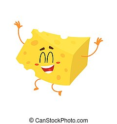 Cute and funny cheese chunk character jumping from happiness