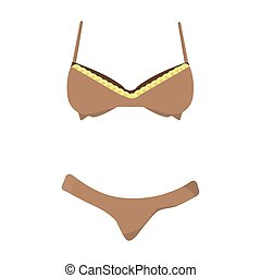 Bra and panties brown for women. Female swimsuit. Underwear...