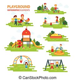 Playground infographic elements vector flat illustration, children play on the outdoors, in the sandbox, boys and girls go for a drive on a swing.