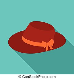 Red female hat with a bow. Summer hat for adult women.  Woman clothes single icon in flat style vector symbol stock illustration.