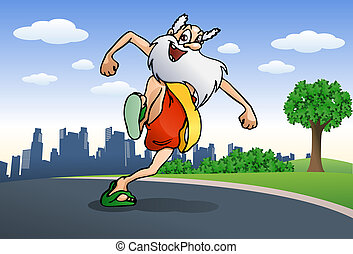 healthy in old age grandpa doing jogging - illustration of a...