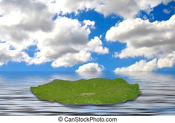 Lilly Pad on the Water - Fantasy Background Composition:...