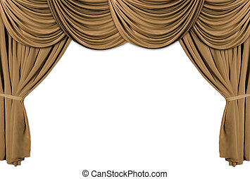 Gold Theater Stage Draped With Curtains - Old fashioned,...