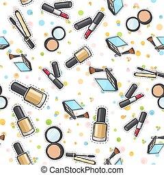 Seamless Pattern. Nail Polish. Powder. Lipstick.
