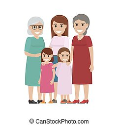 Four Generations of Women Standing Together Vector - Two...