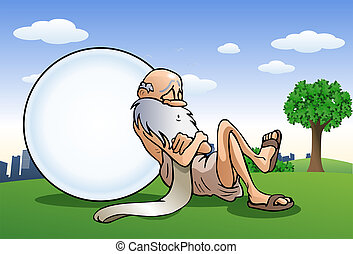 sleeping old man take a nap lean on big ball - illustration...