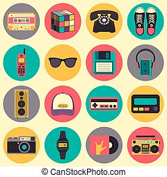 Vector old style equipments, accessories and things icons set. Old school collection