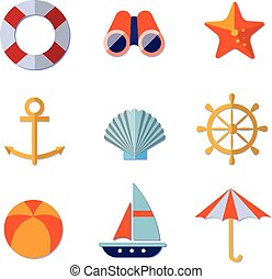 Sea Objects Collection Vector - Sea objects collection....