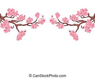 Two symmetrical branches with pink cherry blossoms. Sakura. Isolated on white background. illustration
