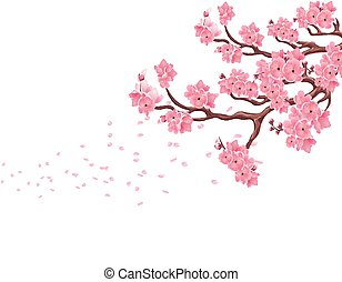 Branches with pink cherry blossoms. Sakura. The petals fly in the wind. Isolated on white background. illustration
